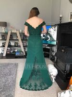 Trumpet/Mermaid Off-the-Shoulder Sweep Train Chiffon Lace Evening Dress With Beading Sequins (271177379)