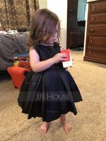 A-Line/Princess Knee-length Flower Girl Dress - Satin Sleeveless Scoop Neck With Ruffles (269177190)