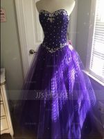 Ball-Gown Sweetheart Floor-Length Tulle Quinceanera Dress With Beading (021020889)