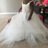 A-Line Floor-Length Junior Bridesmaid Dress (009136441)
