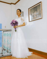 A-Line Illusion Sweep Train Tulle Lace Wedding Dress With Bow(s) (002054351)