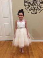 A-Line/Princess Knee-length Flower Girl Dress - Tulle Lace Sleeveless With Appliques Bow(s) Rhinestone (269177227)