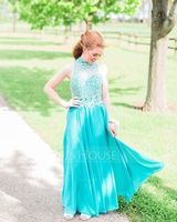 A-Line/Princess Scoop Neck High Neck Floor-Length Chiffon Prom Dresses With Beading Sequins (018107790)
