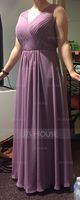 V-neck Floor-Length Chiffon Bridesmaid Dress With Ruffle (266195793)