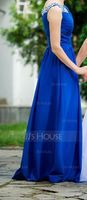A-Line/Princess Scoop Neck Floor-Length Chiffon Evening Dress With Ruffle Beading Sequins (017056497)