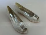 Women's Satin Kitten Heel Peep Toe Pumps With Rhinestone (047058244)