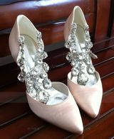 Women's Satin Stiletto Heel Closed Toe Pumps With Rhinestone Crystal (047066035)