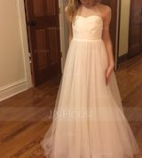 A-Line/Princess Floor-length Flower Girl Dress - Tulle Sleeveless Scoop Neck With Ruffles (010113818)