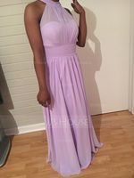 A-Line Scoop Neck Floor-Length Chiffon Prom Dresses With Ruffle Bow(s) Split Front (018112651)