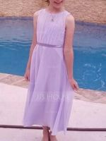 Scoop Neck Tea-Length Chiffon Junior Bridesmaid Dress (268213818)