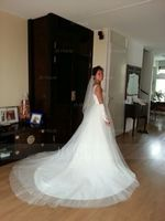 Ball-Gown V-neck Cathedral Train Tulle Wedding Dress With Ruffle Lace Beading Sequins (002056988)