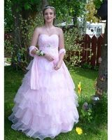 Ball-Gown Sweetheart Floor-Length Organza Quinceanera Dress With Beading Flower(s) Cascading Ruffles (021017335)