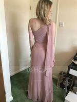 Sheath/Column One-Shoulder Floor-Length Chiffon Bridesmaid Dress (266213269)