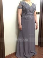 A-Line V-neck Floor-Length Chiffon Lace Mother of the Bride Dress With Beading Sequins (008102694)