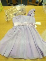 One-Shoulder Short/Mini Chiffon Bridesmaid Dress With Ruffle Flower(s) Bow(s) (266204253)