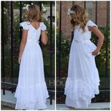 A-Line Floor-length Flower Girl Dress - Chiffon Short Sleeves Scoop Neck With Lace (010094072)