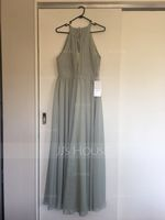 A-Line Scoop Neck Asymmetrical Chiffon Bridesmaid Dress With Ruffle Bow(s) (007126460)