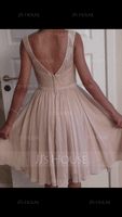 A-Line/Princess V-neck Knee-Length Chiffon Lace Bridesmaid Dress With Bow(s) (266177054)