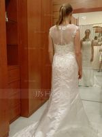 Trumpet/Mermaid Scoop Neck Chapel Train Satin Wedding Dress With Beading Appliques Lace Sequins (002058803)