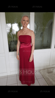 Sheath/Column Strapless Floor-Length Chiffon Bridesmaid Dress (266213211)