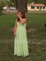 A-Line V-neck Floor-Length Chiffon Prom Dresses With Ruffle Beading Sequins Bow(s) (018112676)