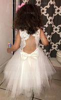 A-Line/Princess Knee-length Flower Girl Dress - Tulle Lace Sleeveless Scoop Neck With Back Hole (269183990)