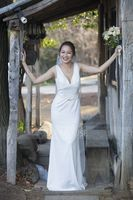 Sheath/Column V-neck Sweep Train Satin Wedding Dress (002071537)