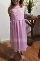 A-Line Scoop Neck Knee-Length Chiffon Junior Bridesmaid Dress With Ruffle (009119577)