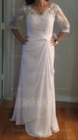 Sheath/Column V-neck Floor-Length Chiffon Wedding Dress (265213089)