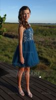 A-Line/Princess Scoop Neck Short/Mini Tulle Homecoming Dress With Beading Sequins (022068823)