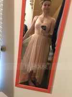 V-neck Asymmetrical Tulle Bridesmaid Dress (266213310)