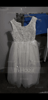 A-Line/Princess Floor-length Flower Girl Dress - Satin/Tulle Sleeveless Scoop Neck With Sequins (010117547)