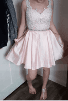 A-Line Sweetheart Short/Mini Satin Homecoming Dress With Beading Sequins Pockets (300244089)