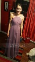 Scoop Neck Floor-Length Chiffon Bridesmaid Dress With Ruffle (266195862)