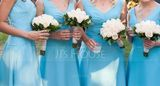 Chiffon Knee-length Bridesmaid Dress with V-Neck