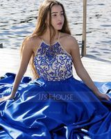 Ball-Gown/Princess Scoop Neck Sweep Train Satin Prom Dresses With Beading Sequins (018105563)