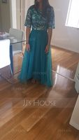 Scoop Neck Asymmetrical Organza Sequined Bridesmaid Dress (266213428)