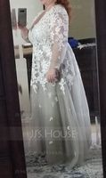 A-Line/Princess V-neck Sweep Train Tulle Evening Dress With Cascading Ruffles (017112147)
