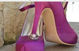 Women's Satin Stiletto Heel Closed Toe Platform Pumps With Buckle (047059952)