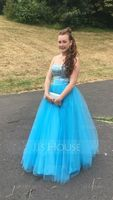 Ball-Gown/Princess Sweetheart Floor-Length Tulle Prom Dresses With Ruffle Beading Sequins (018004898)