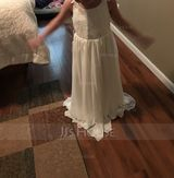 Floor-length Flower Girl Dress - Chiffon Lace Sleeveless Scoop Neck With Appliques (269208631)
