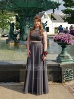 A-Line/Princess Scoop Neck Floor-Length Chiffon Prom Dresses With Beading Sequins (272177444)