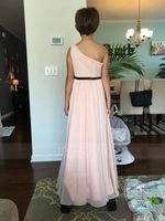 A-Line One-Shoulder Floor-Length Chiffon Junior Bridesmaid Dress With Ruffle Bow(s) (009087899)