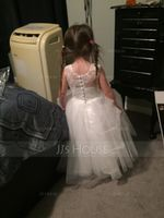 A-Line/Princess Tea-length Flower Girl Dress - Tulle/Lace Sleeveless Scoop Neck (010091381)