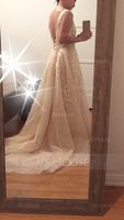 Scoop Neck Court Train Tulle Lace Prom Dresses (272214462)