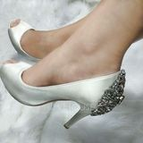 Women's Silk Like Satin Stiletto Heel Peep Toe Platform Pumps (047146115)