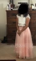 A-Line Scoop Neck Tea-Length Tulle Junior Bridesmaid Dress With Flower(s) (009130617)