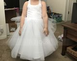 Ball-Gown/Princess Knee-length Flower Girl Dress - Tulle Sleeveless Straps (010089505)