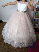 Ball-Gown/Princess Floor-length Flower Girl Dress - Satin/Tulle/Lace Sleeveless Scoop Neck (010143277)