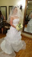 Ball-Gown Sweetheart Court Train Organza Wedding Dress With Beading Appliques Lace Flower(s) (002014843)
